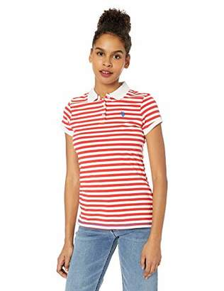 U.S. Polo Assn. Women's Short Sleeve Striped Jersey Polo Shirt