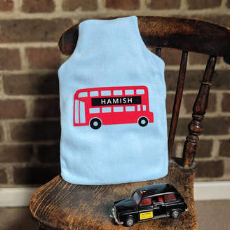 nickynackynoo London Bus Personalised Hot Water Bottle Cover