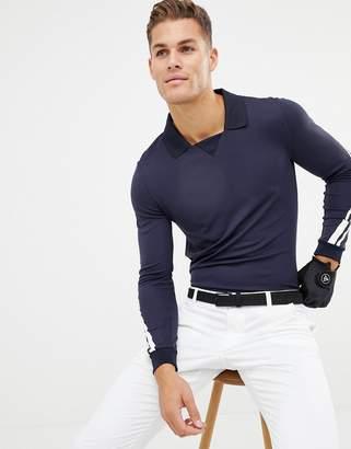 J. Lindeberg Elias slim fit long sleeve polo in navy