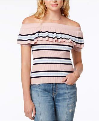 Hooked Up by Iot Juniors' Striped Off-The-Shoulder Flounce Sweater