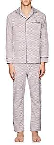 Maison Marcy Men's Hat-Print Cotton Pajama Set-White