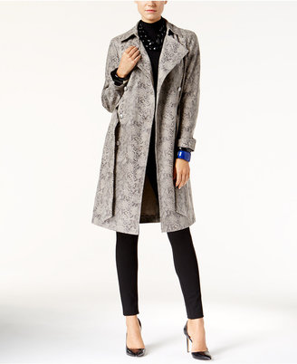 INC International Concepts Snakeskin-Print Faux-Leather Trench Coat, Only at Macy's $199.50 thestylecure.com