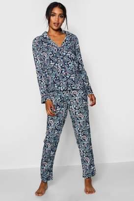 boohoo Paisley Print Long Sleeve Pyjamas