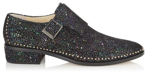 Jimmy Choo Waffle Hologram Suede Monk Strap Loafers