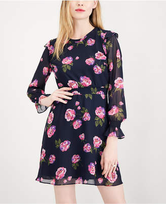 Maison Jules Printed Smocked Fit & Flare Dress