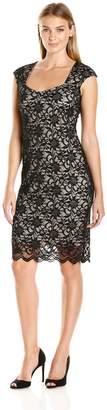 Tiana B Women's Sleeveless Sheath Sweetheart Neckline Dress, Black/Nude