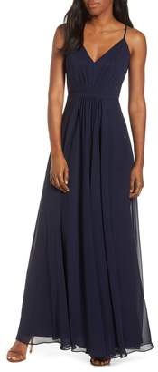 Eliza J V-Neck Pleated Chiffon Gown