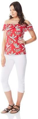 M&Co Roman Originals floral frill bardot top