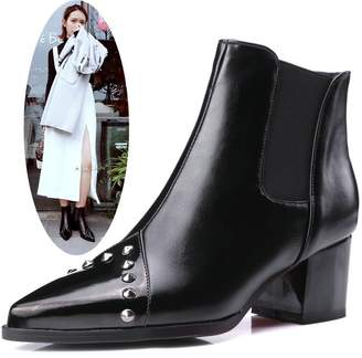 NIQI Women Ankle Boots Pointed Toe Slip On Boots Mid Heel Rivet Chelsea Boots