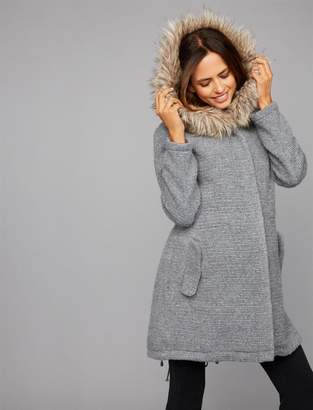 A Pea in the Pod BB Dakota Faux Fur Textured Maternity Coat