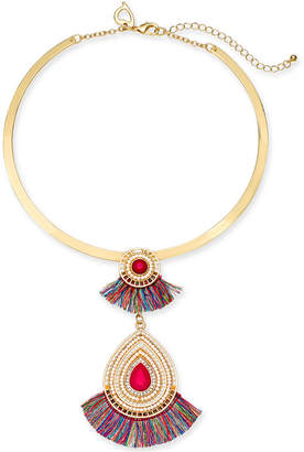 "Thalia Sodi Gold-Tone Stone, Bead & Fringe Lariat Collar Necklace, 18"" + 3"" extender, Created for Macy's"