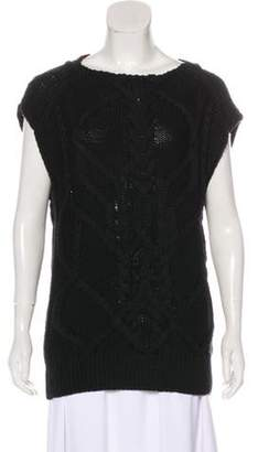 Dries Van Noten Sleeveless Cable Knit Sweater Black Sleeveless Cable Knit Sweater