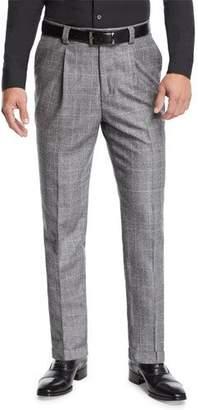 Brunello Cucinelli Men's Leisure Fit Single-Pleat Check Pants