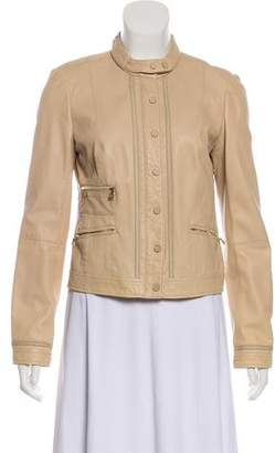 Tory Burch Leather Zip-Up Jacket