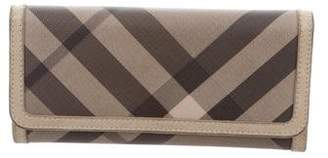 Burberry Check Leather-Trimmed Wallet