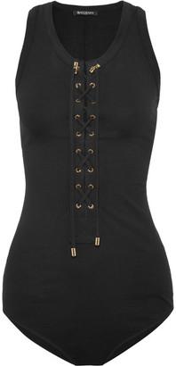 Balmain - Lace-up Stretch-cotton Jersey Bodysuit - Black $490 thestylecure.com