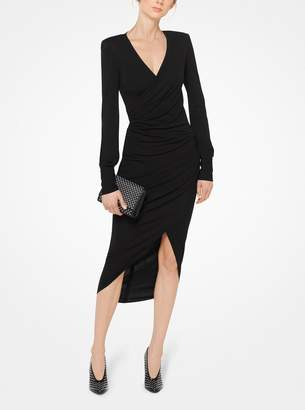 Michael Kors Ruched Matte-Jersey Wrap Dress