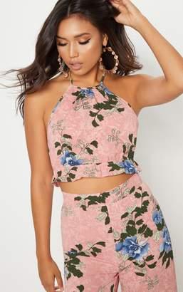 PrettyLittleThing Pink Floral Printed Halter Neck Crop Top