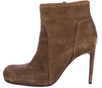 Rick Owens Suede Round-Toe Ankle Boots