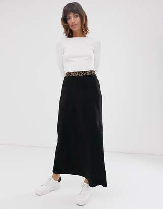 Religion maxi skirt with leopard waist band