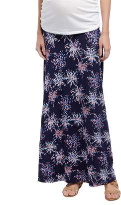 Motherhood Maternity Fold Over Belly Printed Maternity Skirt- Confetti