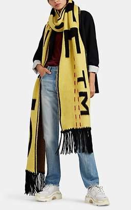 Off-White Women's Logo-Jacquard Wool-Blend Oversized Scarf - Yellow