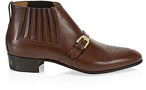 Gucci Men's Worsh Buckle Leather Boots