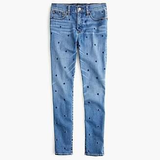 "J.Crew Tall 9"" high-rise toothpick jean in indigo polka dot"
