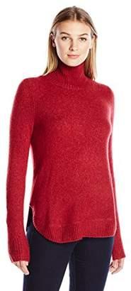 Lark & Ro Women's Rounded-Hem Funnel Neck Sweater