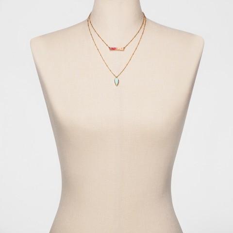 SUGARFIX by BaubleBar Druzy Layered Necklace - Pink 2