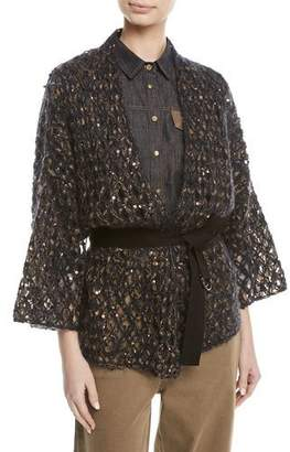 Brunello Cucinelli Mohair Netted Wrap Cardigan w/ Paillettes & Grosgrain Belt