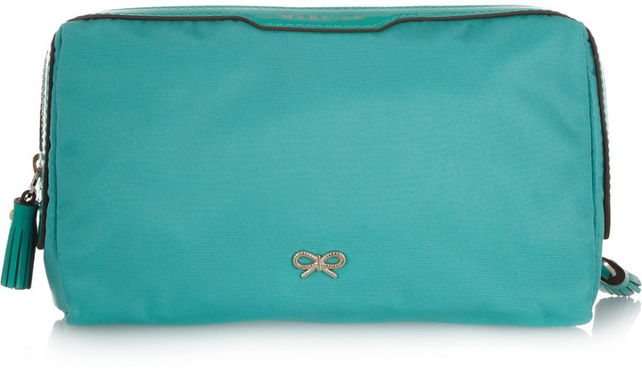 Anya Hindmarch Make-Up patent leather-trimmed small cosmetics case