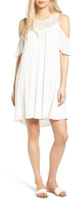 Women's Hinge Lace Yoke Cold Shoulder Dress $79 thestylecure.com
