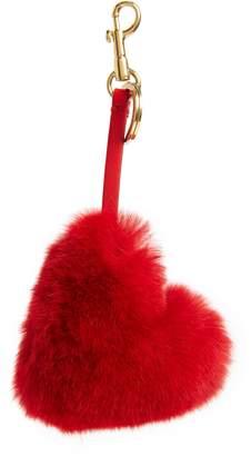 Anya Hindmarch Heart Genuine Rabbit Fur Bag Charm