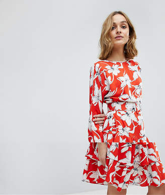 Vero Moda Vintage Floral Tea Dress With Ruffle Hem