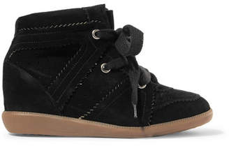 Isabel Marant Bobby Suede Wedge Sneakers - Black