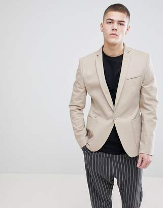 Asos DESIGN Super Skinny Blazer In Putty Cotton