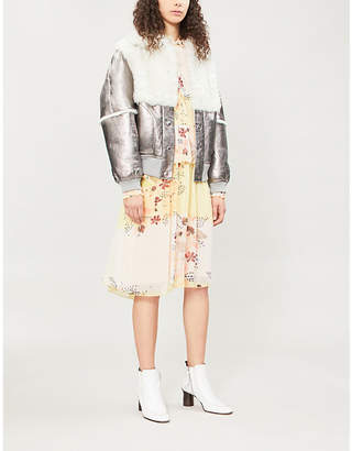See by Chloe Crackled metallic leather and shearling jacket