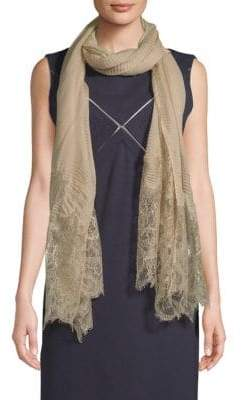 Valentino Pleated Lace-Trim Scarf