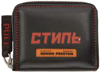 Heron Preston Black Style Zip Wallet