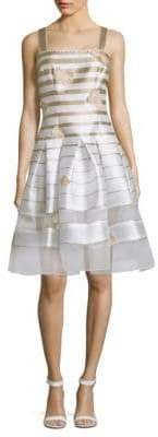 Carmen Marc Valvo Striped Organza Flare Dress