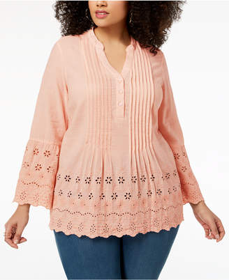 Style&Co. Style & Co Plus Size Cotton Pintuck Eyelet Top, Created for Macy's