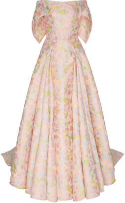 Zac Posen Floral Jacquard Off-The-Shoulder Gown With Train