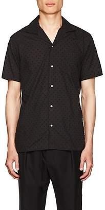 Officine Generale Men's Swiss Dot Cotton Shirt