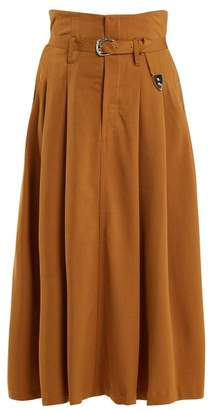 Toga High Rise Belted Maxi Skirt - Womens - Camel