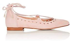 Barneys New York WOMEN'S PERFORATED SUEDE LACE-UP FLATS-ROSE SIZE 7