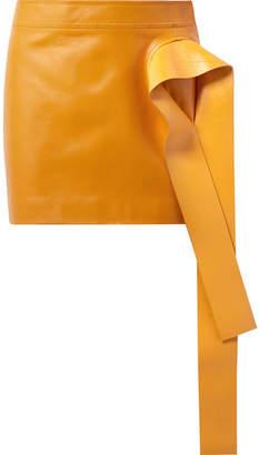 J.W.Anderson Draped Leather Mini Skirt - Orange
