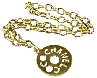 Chanel Coco Mark Gold-Tone Metal Pendant Necklace