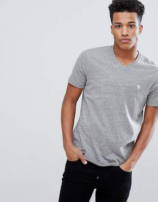 Abercrombie & Fitch Moose Icon Logo V-neck T-Shirt in Gray