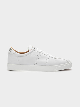 Superga Mens 2843 Sport Sneakers in White Soft Leather